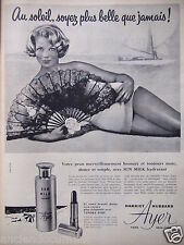 PUBLICITÉ 1958 HYDRATANT SUN MILK AYER HARRIET HUBBARD - ÉVENTAIL - ADVERTISING