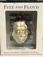 """Fitz And Floyd Old Fashion Christmas Santa Claus Face Glass Ornament 4"""" X 5"""""""