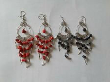 chip's of stone red and black Lot of 2 Pairs Stone Earrings with