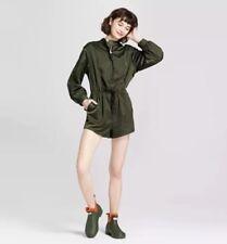 New Hunter For Target Women Olive ZIP Front Tie Waist Long Sleeve Romper SZ XS