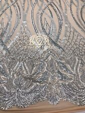 Silver Sequins Fabric 4 Way Stretch Embroidered On Nude Mesh Lace Fabric By Yard