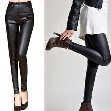 Sexy Fashion Cool High Waist Faux Leather Stretch Pants Women's Leggings Black