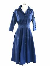 Vintage Women's Blue Button Down Fit And Flare Dress *** Beautiful!!* Size 10
