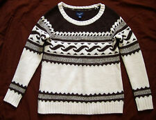 NWT $70 AMERICAN EAGLE Fair Isle Sweater Brown Cream Sz XS Scoop Neck