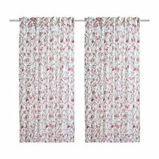 *IKEA Aklejruta Curtains 145cm X 300cm - White/multicolour/floral 102.920.79