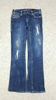 Rock & Roll Cowgirl Women's Low Rise Boot Cut Patchwork Distressed Jeans 28x34