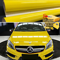 "108"" x 60"" Super Gloss Yellow Vinyl Film Wrap Sticker Air Bubble Free 9ft x 5ft"