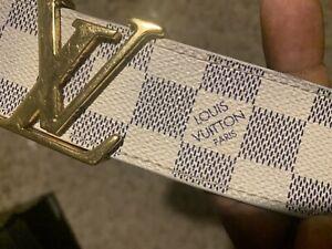 Louis Vuitton mens belt Damier Azur Used White/blue