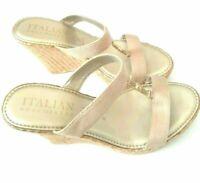 Italian Shoemakers Women's Size 8 Tan Beige Gold Wedges Heels Platform Sandals