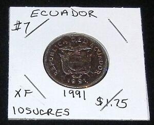 EXCELLENT Republic Of Ecuador 1991 10 Sucres Coin