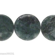 """Beads Marble GREEN & Black Flat Round ~ 21 to 22mm ~ 15"""" Strand"""