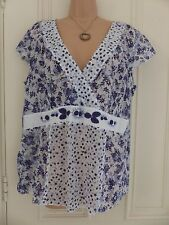 Per Una size 16 very thin lightweight cotton white blouse blue floral pattern