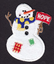 SNOWMAN HOPE Iron On Patch Winter Snow Christmas