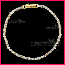 18K YELLOW GOLD GF LADIES GIRLS THIN BAND WEDDING CRYSTAL TENNIS BANGLE BRACELET