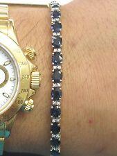 18Kt Gemma Zaffiro Blu Diamante 2-tone Oro Braccialetto Tennis 17.8cm 14.28Ct