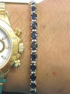 "Natural Oval Sapphire & Diamond Tennis Bracelet 18Kt Two-Tone 7"" 14.28Ct"