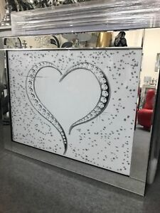 Large silver and white love heart glitter sparkle picture in mirrored frame