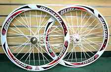 700C Fixed Gear Wheels set Sealed Bearing White Rim w white Flat Bladed Spokes