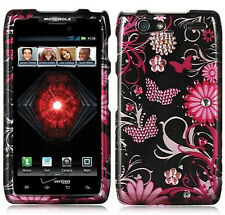 For Motorola DROID RAZR MAXX Spot Diamond HARD Case Phone Cover Black Butterfly