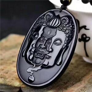 Natural Obsidian Amulet Men's Pendant Jade Jewelry  Buddha Necklace Pendant