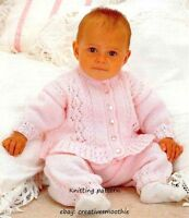 (111) DK Knitting Pattern for Baby Girls Cardigan and Trousers, 16-22''