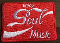 ENJOY SOUL MUSIC  New Iron On/Sew On Embroidered Patch NORTHERN RARE SOUL SCENE