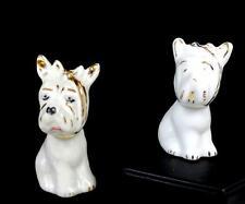 "SCHMIDT s. CATARINA BRAZIL GOLD WHITE 2 PC TOOTHACHE DOG 3 1/4"" FIGURINES 1970's"