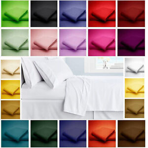 King Size Flat Sheet Plain Dyed 100% Poly-Cotton With or Without pillow Case