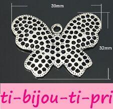 LOT de 4 PENDENTIFS perles BRELOQUES ARGENTE PAPILLON 39x32mm BUTTERFLY bijoux