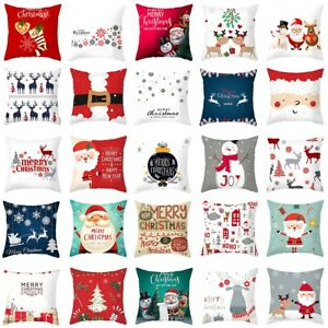 "Merry Christmas Pillow Case Bed Sofa Waist Cushion Cover Car Home Decor 18X18"""