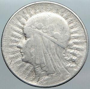 1933 POLAND Queen Jadwiga & Eagle Polish Antique Silver 5 Zlotych Coin i89013