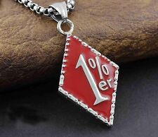 1% ER One percent Exquisite Red 316L Stainless Steel Mens Pendant Necklace Chain