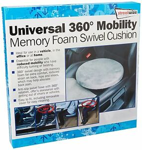 NEW Universal Mobility Aid Car Seat & Home Chair 360° Memory Foam Swivel Cushion