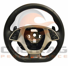 2015-2018 C7 Corvette Z06 Steering Wheel Manual Black Leather Red Stitching
