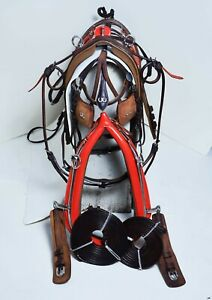 NEW OILY LEATHER PONY DRIVING HARNESS SET WITH COLLAR & KIDNEY BEATERS RED