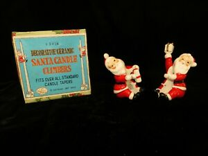 Vintage 1957 Napco Santa Claus Candle Climbers in Original Box