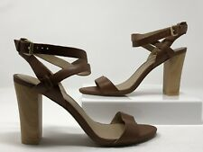 "Julianne Hough for Solecitey Women's 4"" Heels Tan Leather Sandals Size 9"