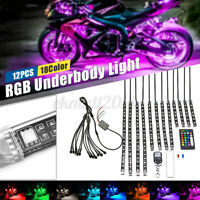 12x 5050 SMD RGB 120 LED Neon Under Glow Strip Light with Remote for Car ATV SUV