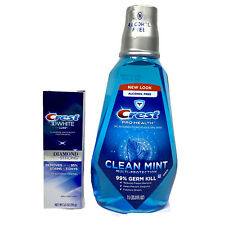 Crest Oral Care 3D White Luxe Diamond Strong Toothpaste & 1L Mouthwash New