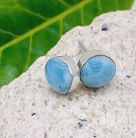 Natural Small LARIMAR STUDS Earrings 925 Sterling Silver  - P88