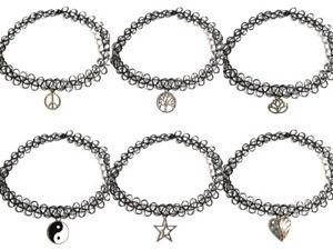Tattoo Lace Choker Elastic Vintage Stretch Charm Necklace Henna Punk Gothic