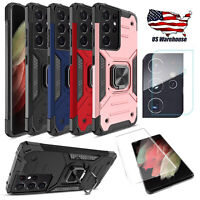 For Samsung Galaxy S21 Ultra 5G S20 FE Ring Holder Case / Lens Screen Protector