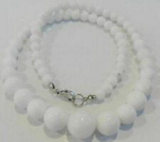 6-14mm Natural White Jade Gemstone Round Beads Necklace 18'' Extend