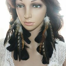2 Pair 33B1-1 Chain Black Natural Feather Earrings Jewelry  Lhf140807