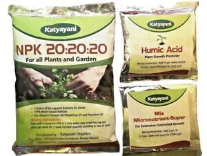 NPK 20 20 20 Fertilizer with 2 Sample micronutrients and Organic Humic Acid