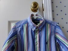 Boys RALPH LAUREN Button Up Blue STRIPED Logo Oxford Dress Shirt Top Size 4/4T