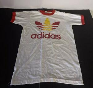 Vtg 70s 80 Adidas T-Shirt Trefoil Rainbow First Jersey Bank 1 Mile Runs Marathon