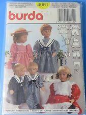 """Burda Pattern # 4061 Doll Clothes in 3 Sizes S,M,L 12"""" 14"""" 16"""" 18"""" 20"""" 22"""" Uncut"""