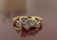 18ct Yellow Gold Platinum Double Heart Diamond Ring
