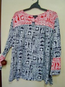 Quality Sue  NEW!! BEAUTIFUL PATTERNED EMME/MY SIZE l/sl TOP Plus size XL/28/30